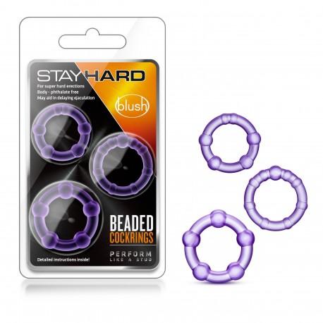 STAY HARD BEADED COCK RINGS PURPLE